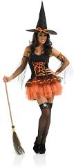 80s Orange Tutu Witch Costume