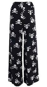 Palazzo Pants with skull and cross bones design