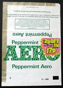 Peppermint Aero bar wrapper from 1981