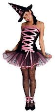 Pink Halloween Witch Ladies Costume