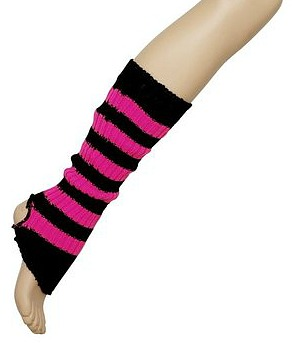 Striped Ribbed Black and Pink Leg Warmers