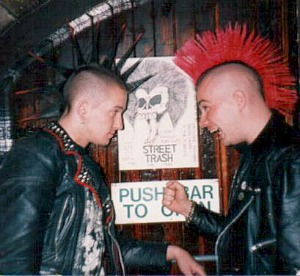 two puk rockers with mohican hairstyles