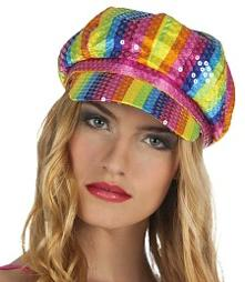 Rainbow Colour Sequins Disco Cap for Women