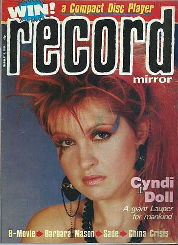 Cyndi Lauper on the cover of Record Mirror Magazine in February 1984