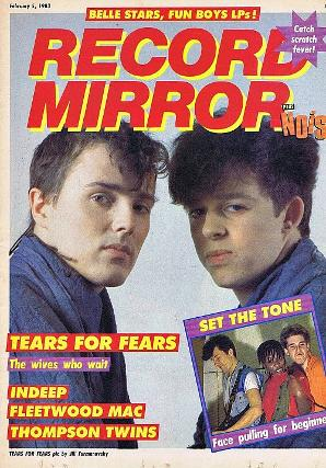 Tears For Fears on the cover of Record Mirror magazine Feb 5th 1983