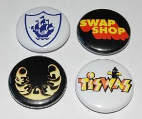 Collection of retro 70s kids TV button badges - Blue Peter, Swap Shop, Magpie and Tiswas
