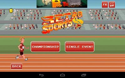 Title Screen from Retro Sports Android App