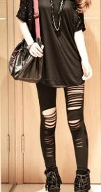 Gothic/Punk Stretchy Ripped Tights