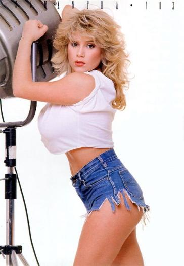 Samantha Fox wearing ripped shorts in the 1980s