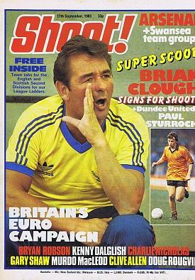 Brian Clough on the cover of Shoot! Magazine 17th Sept 1983