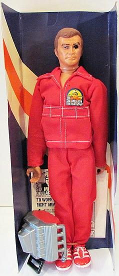 Six Million Dollar Man doll/figure with engine block and red jumpsuit