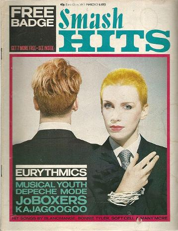 Eurythmics on the cover of Smash Hits magazine March 3-16th 1983