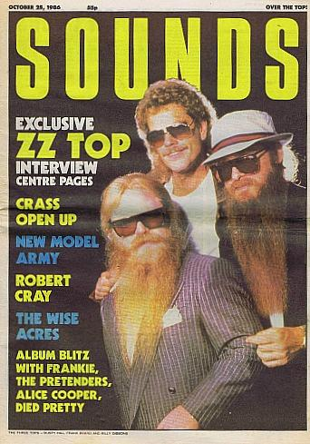 ZZ Top on the cover of Sounds magazine in October 1986