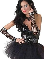 Studded Fishnet Punk Gloves