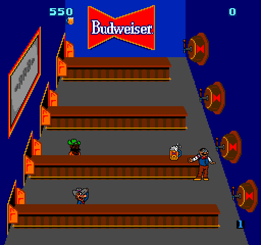 Tapper (1983) arcade game screenshot (Bally Midway)