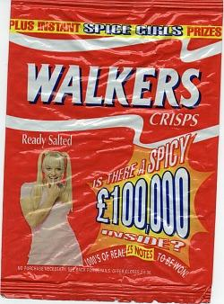 Walkers Crisps packet from 1997 featuring a Spice Girls promotion