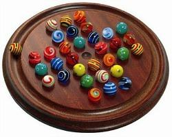 Traditional Wooden Solitaire Marbles Game
